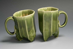 green pottery mugs made by Rick Hoffman