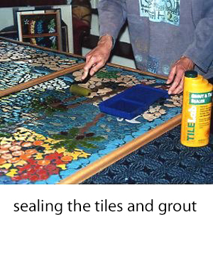 applying a sealer to the mosaic tiles and grout